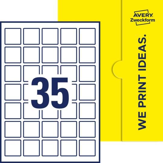 Quadratische Etiketten 35 X 35 Mm Avery Zweckform
