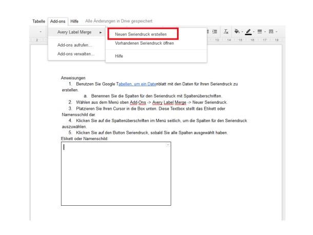 Anleitung für Google Docs zum Seriendruck | Avery Zweckform