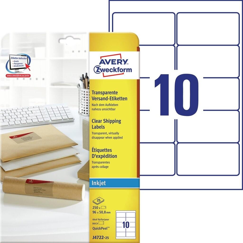 Versandetiketten j4722 25 avery zweckform for Avery etiketten