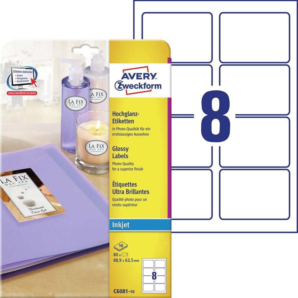 Hochglanz etiketten c6081 10 avery zweckform for Avery etiketten