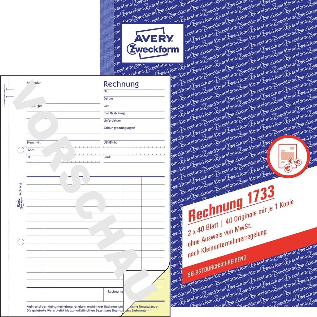 Rechnung 1733 Avery Zweckform