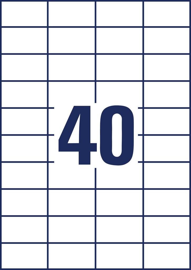 A4, PAPIER WEISS 4.000 ETIKETTEN 52,5 X 29,7 MM AVERY ZWECKFORM 3651 ETIKETTEN