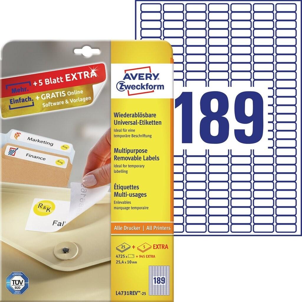 Universal etiketten l4731rev 25 avery zweckform for Avery etiketten
