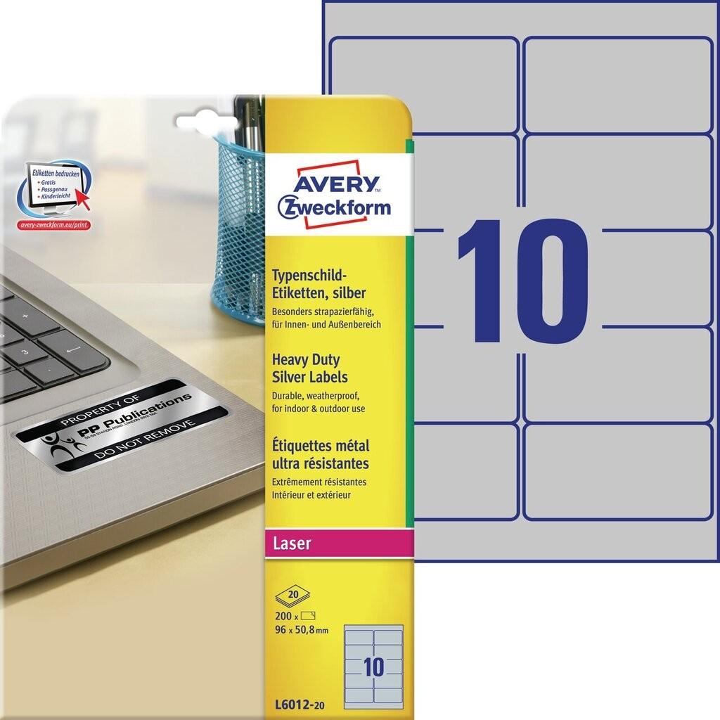 Typenschild etiketten l6012 20 avery zweckform for Avery etiketten