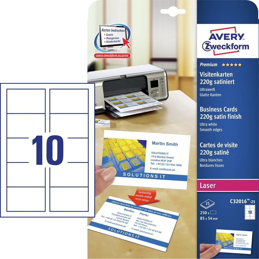 Visitenkarten C32016 25 Avery Zweckform