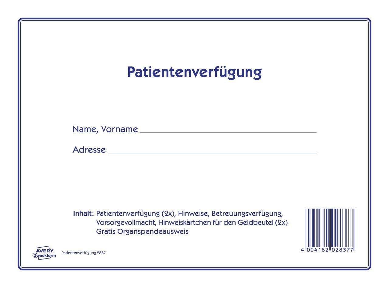 patientenverfgung umfangreiches vordruckset 220x163mm - Muster Patientenverfugung