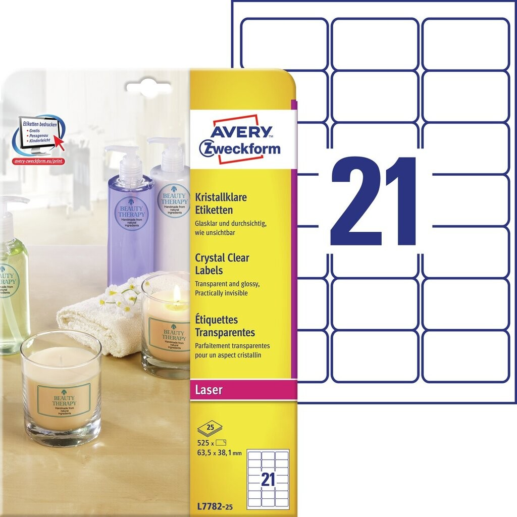 Kristallklare etiketten l7782 25 avery zweckform for Avery etiketten
