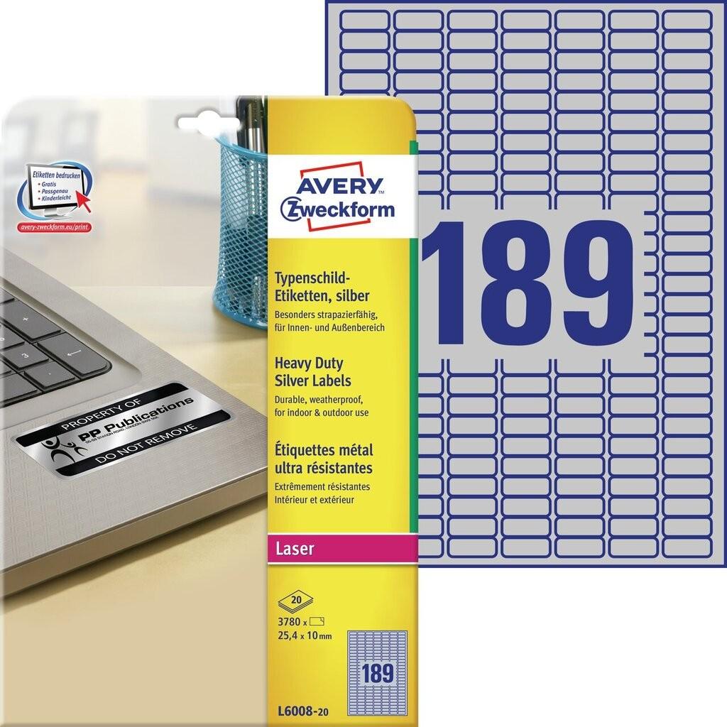 Typenschild etiketten l6008 20 avery zweckform for Avery etiketten