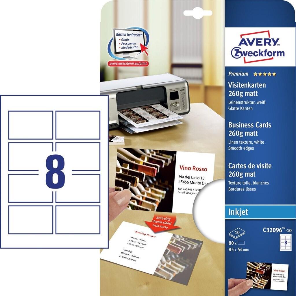 Visitenkarten C32096 10 Avery Zweckform