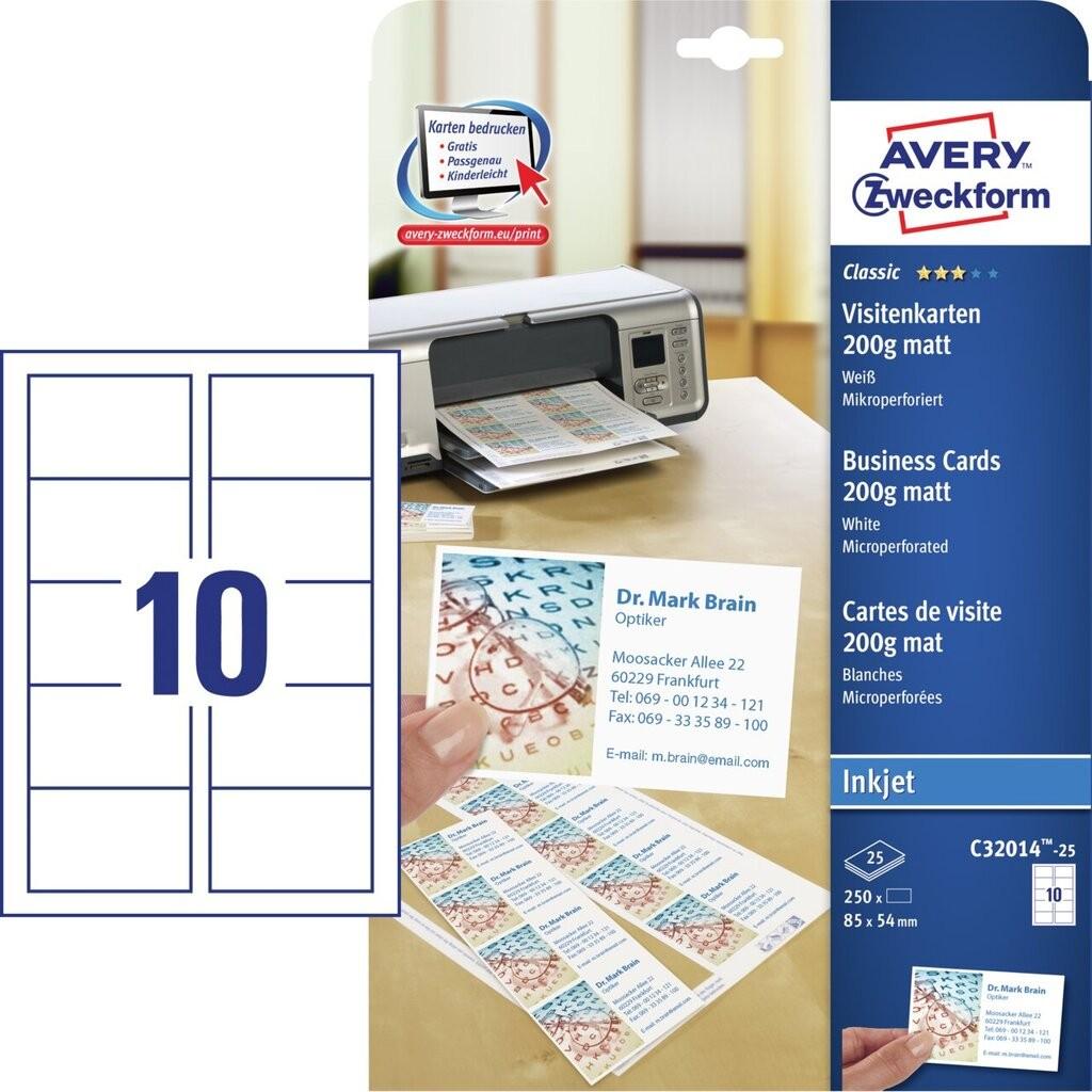 Visitenkarten C32014 25 Inhalt 250 Karten Bogen