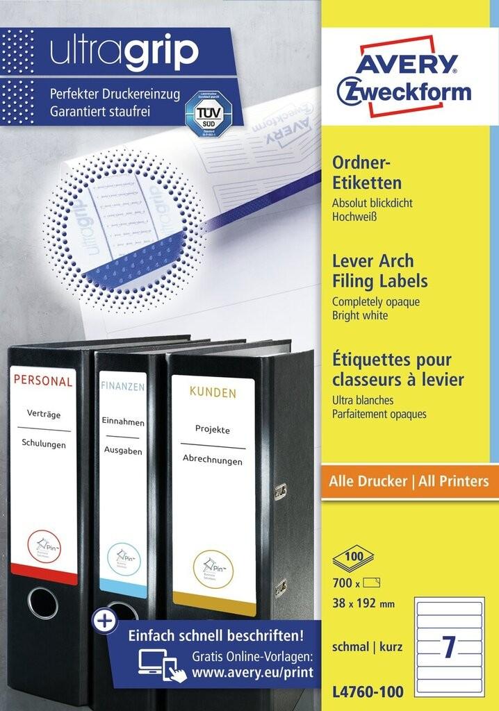 Ordneretiketten L4760 100 Avery Zweckform