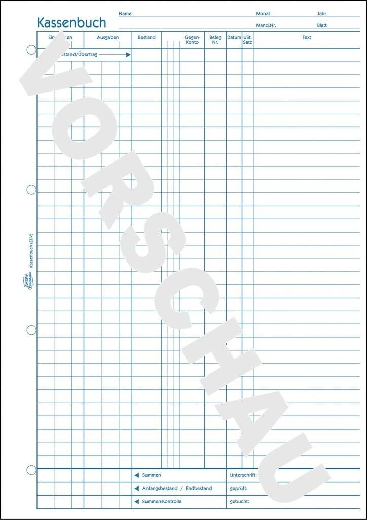 kassenbuch a4 edv gerecht mit blaupapier 100 blatt - Kassenbuch Muster