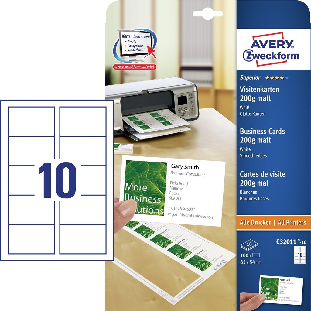 Visitenkarten C32011 10 Avery Zweckform