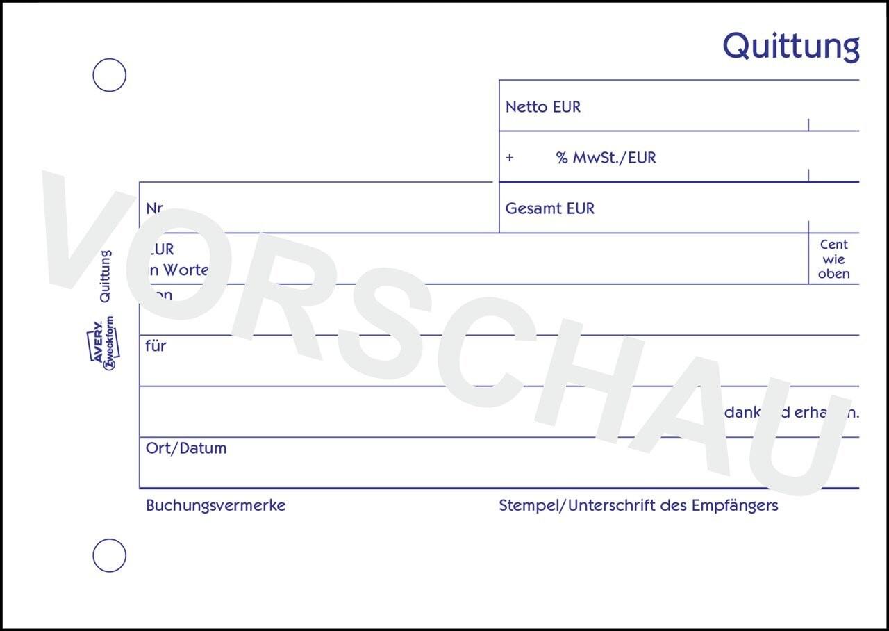 Quittung MwSt. separat ausgewiesen | 1250 | Avery Zweckform