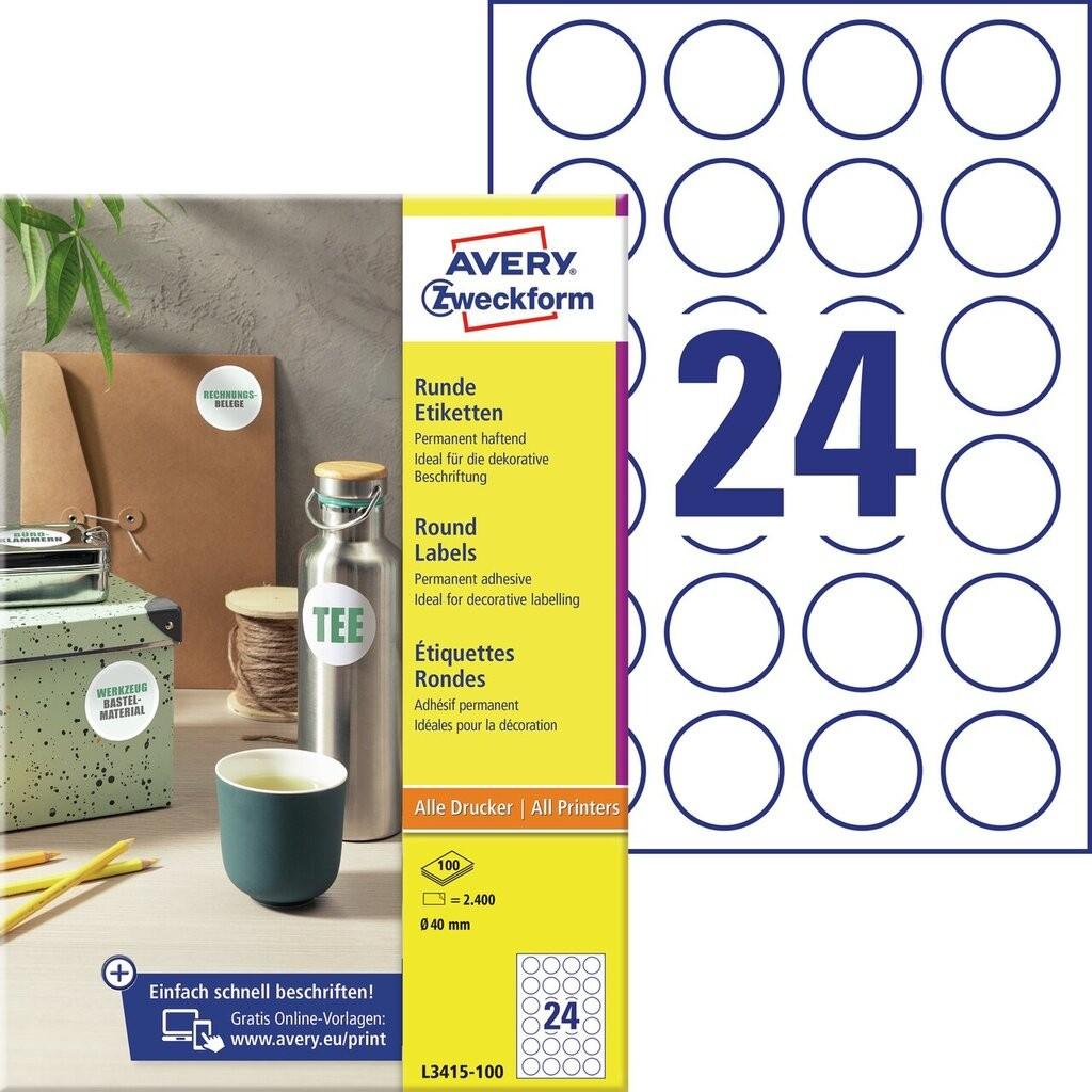Runde etiketten l3415 100 avery zweckform for Avery etiketten