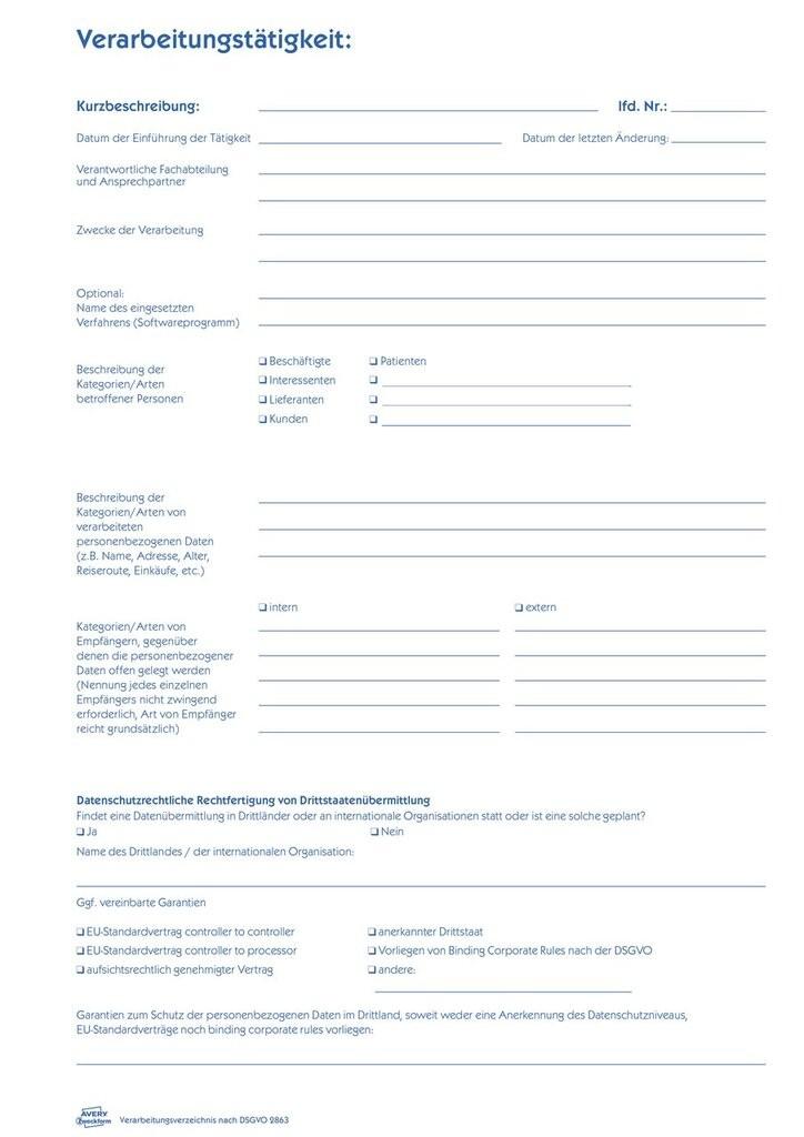 Verarbeitungsverzeichnis Nach Dsgvo 2863 Avery Zweckform