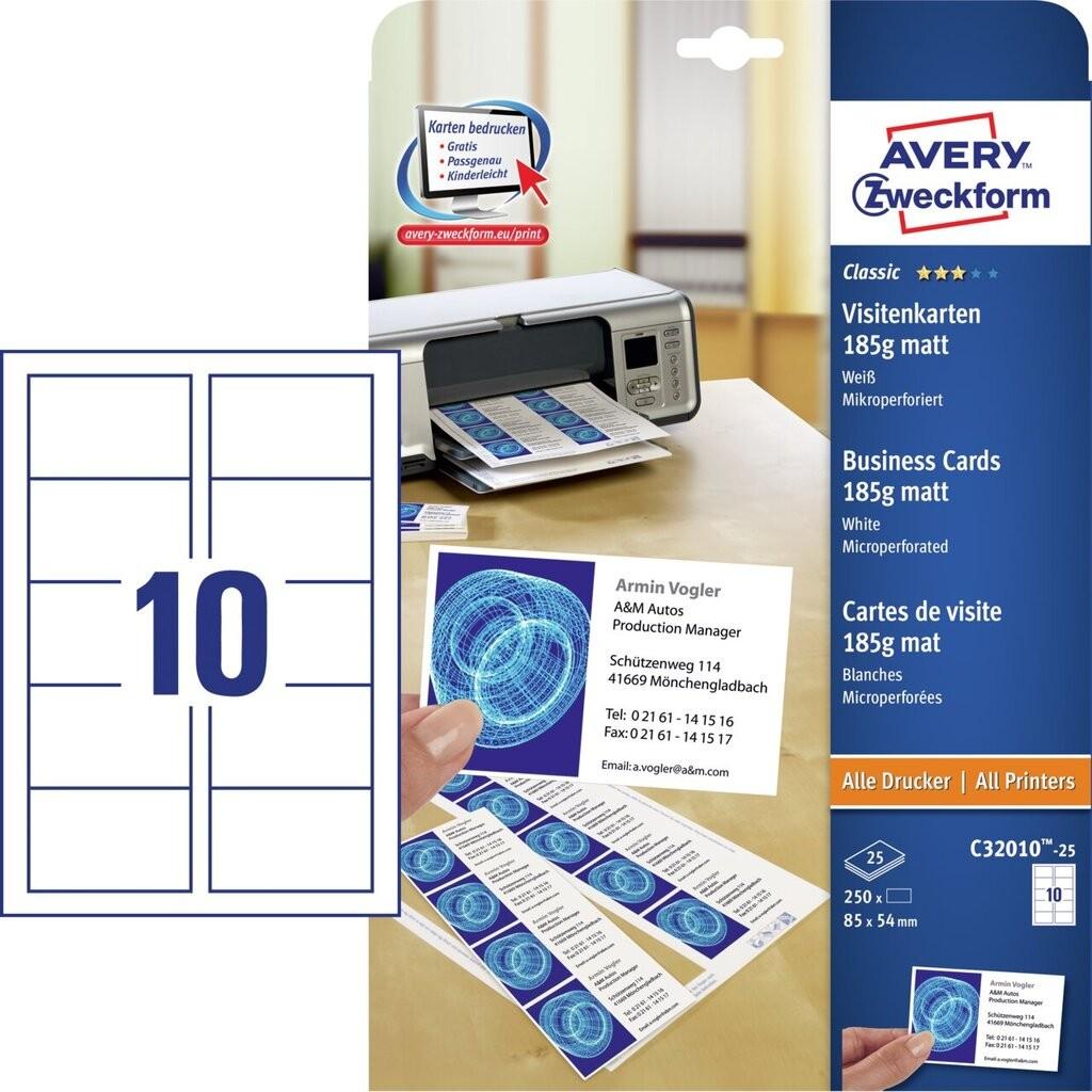 Visitenkarten C32010 25 Avery Zweckform