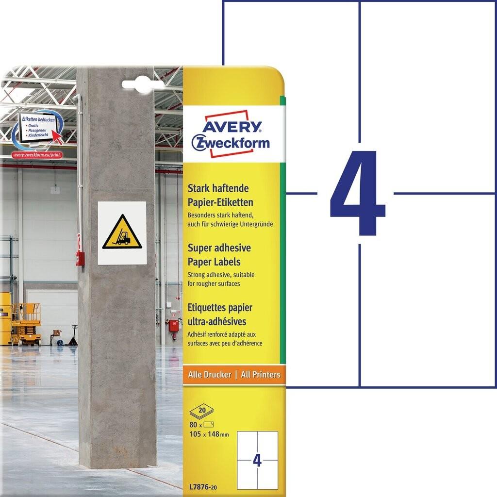 Stark Haftende Papier Etiketten L7876 20 Avery Zweckform
