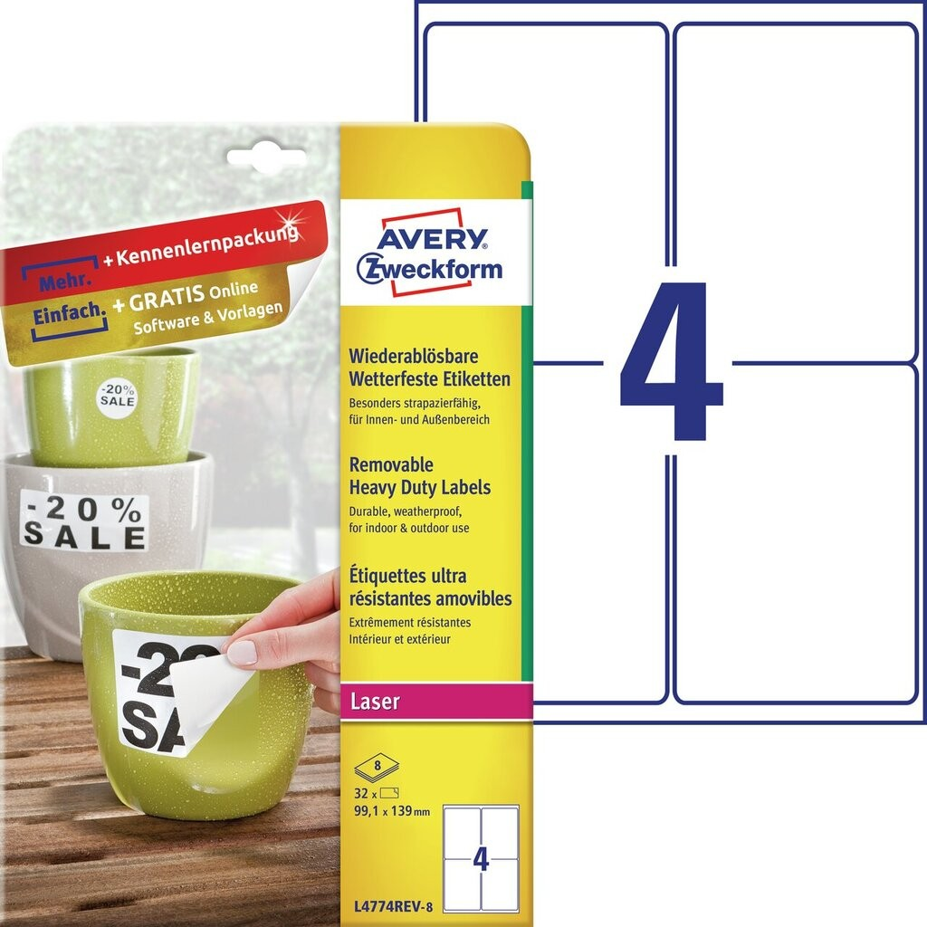 Wetterfeste etiketten l4774rev 8 avery zweckform for Avery etiketten