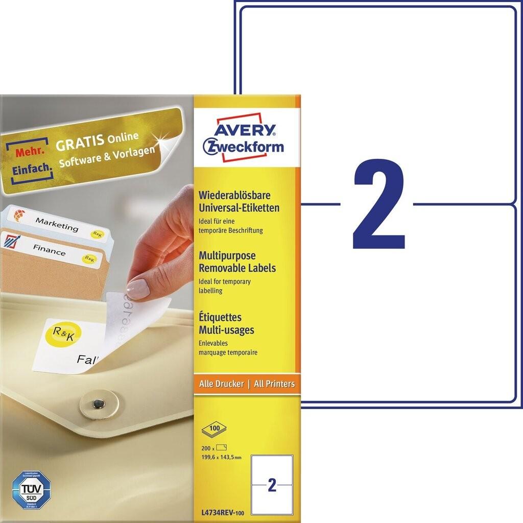 Universal etiketten l4734rev 100 avery zweckform for Avery etiketten