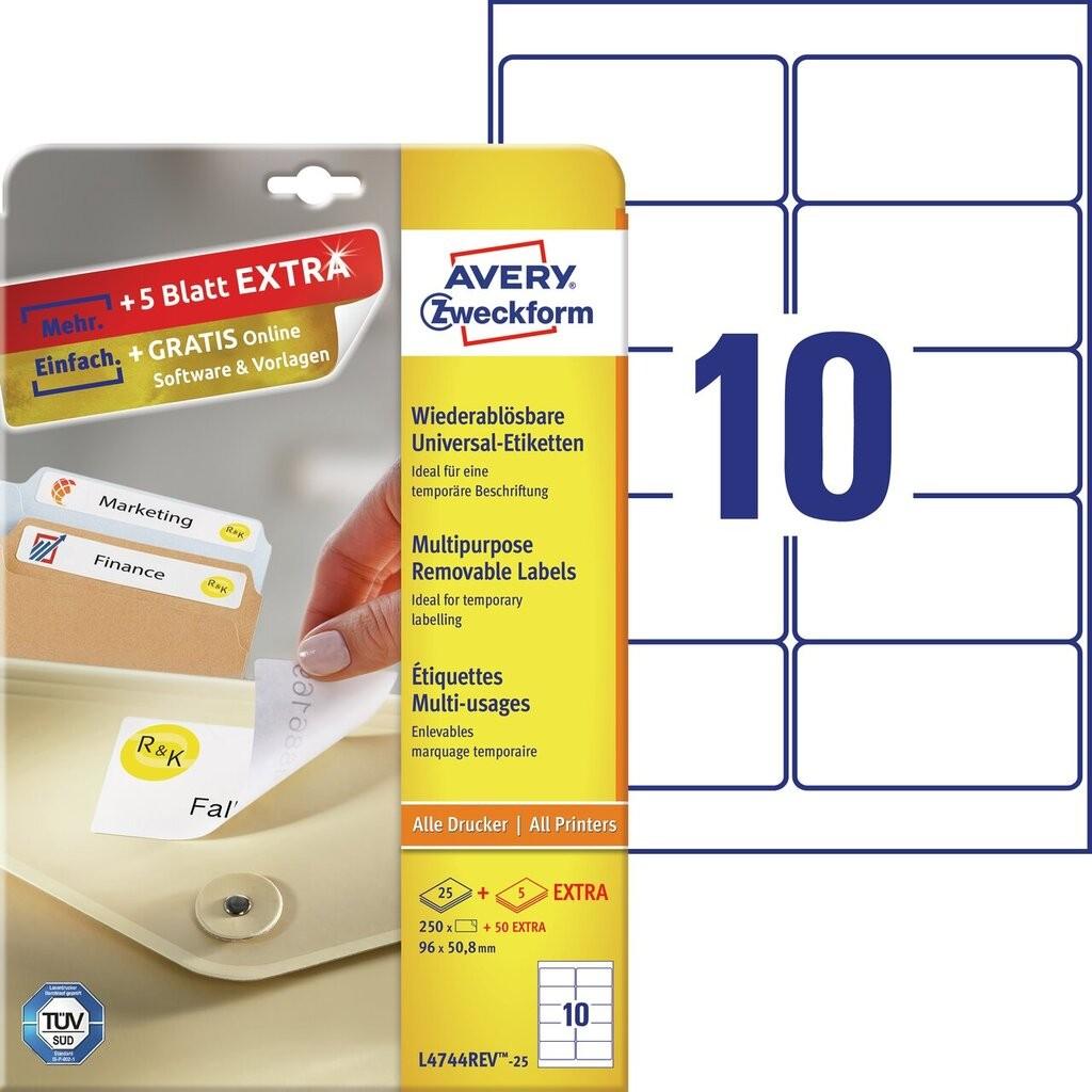 Universal etiketten l4744rev 25 avery zweckform for Avery etiketten
