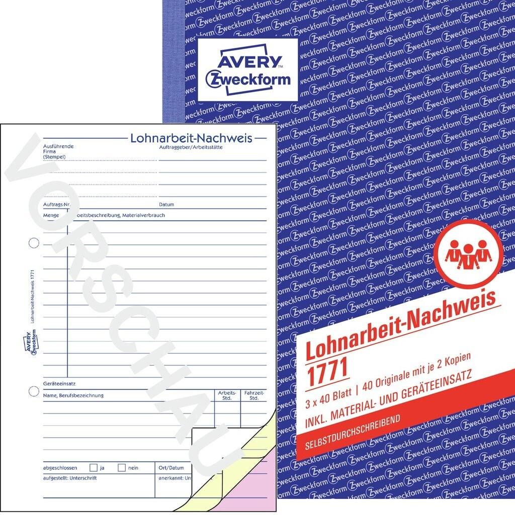 Lohnarbeit-Nachweis | 1771 | Avery Zweckform