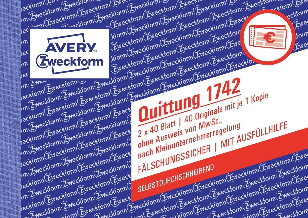 Quittung Kleinunternehmer Ohne Mwst 1742 Avery Zweckform