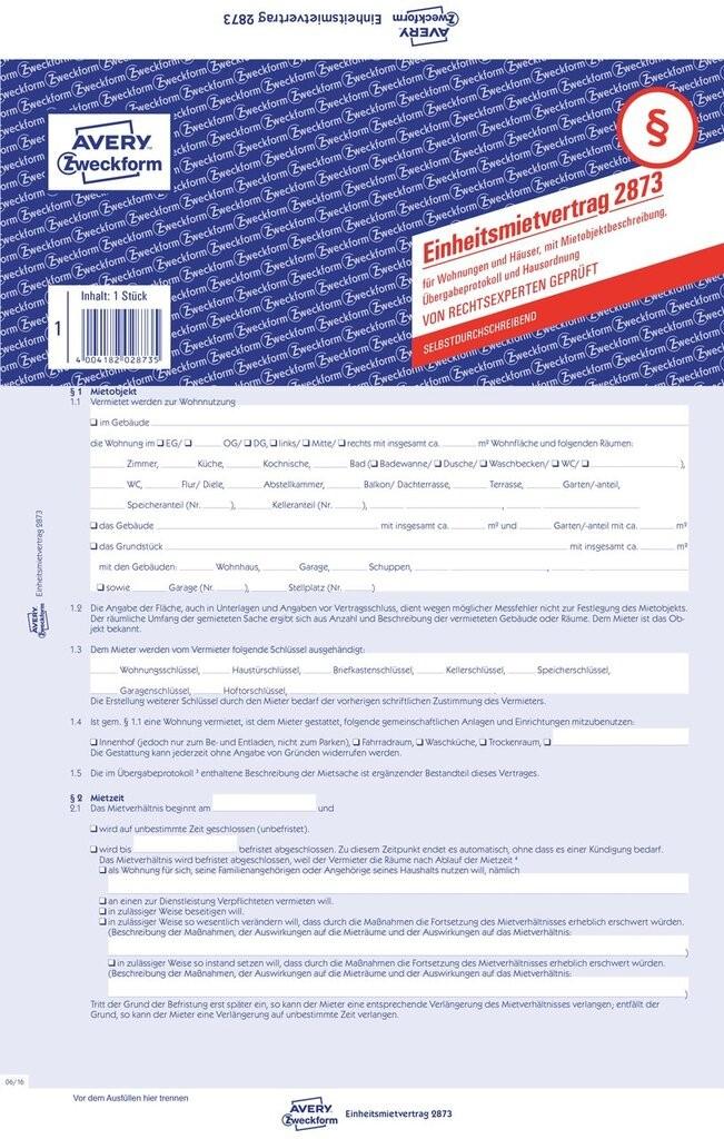 Einheitsmietvertrag Für Wohnungen Und Häuser 2873 Avery Zweckform