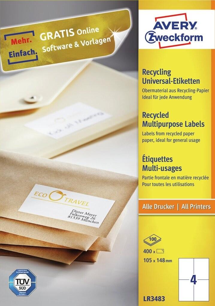 Recycling universal etiketten lr3483 avery zweckform for Avery etiketten
