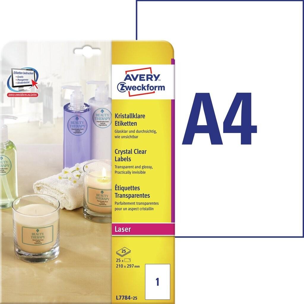 Kristallklare etiketten l7784 25 avery zweckform for Avery etiketten