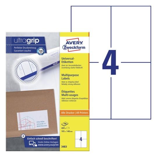 Laser,Inkjet,Kopierer 100 Klebeetiketten DIN A4 Blatt weiß 149,1 mm x 105,4 mm