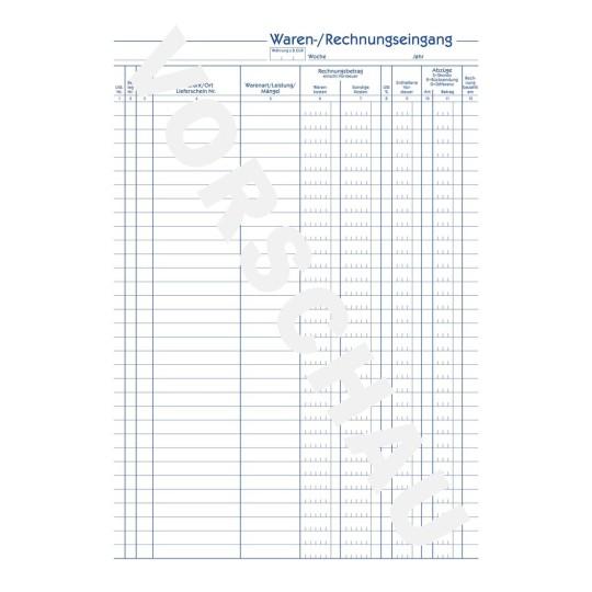 RNK Wareneingangsbuch Rechnungseingangsbuch weiß A4 30 Blatt Rechnung Waren
