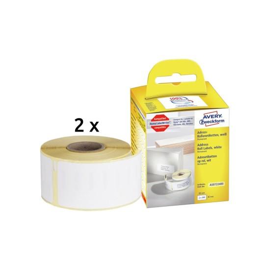 1 Rolle wei/ß AVERY Zweckform AS0722550 Etiketten abl/ösbar, 19 x 51 mm, Dymo kompatibel S0722550 // 11355, 500 Aufkleber