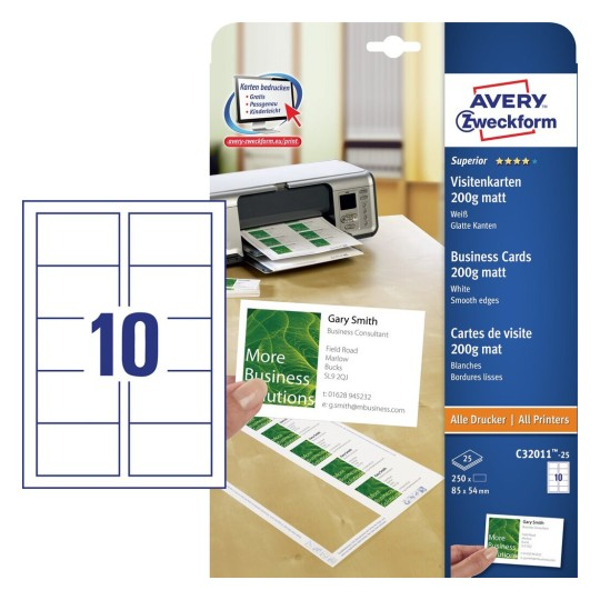 Visitenkarten Für Inkjetdrucker Avery Zweckform