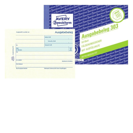 Ausgabebeleg 303 AVERY Zweckform A6 Quer 50 Blatt Gelb für Land D Staffelpreise!