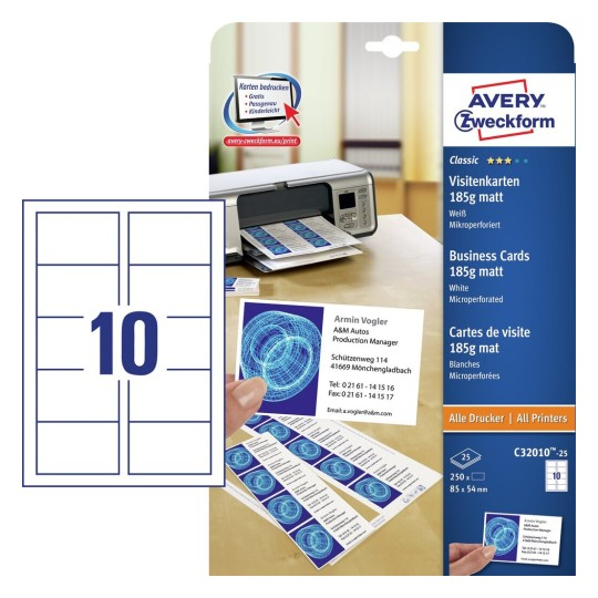 Avery Visitenkarten f/ür Laserdrucker farbig