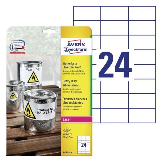 Avery Zweckform Folien-Etiketten ultra-resistent weiß 46x21 480 Stück Drucker
