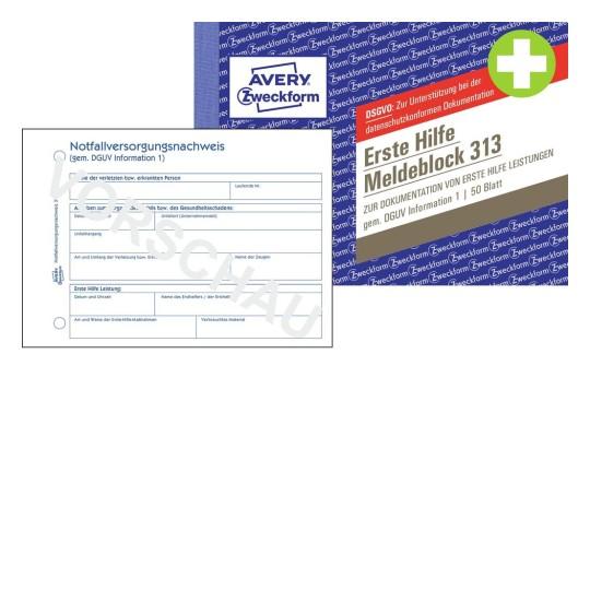 Erste Hilfe Meldeblock | 312 | Avery Zweckform